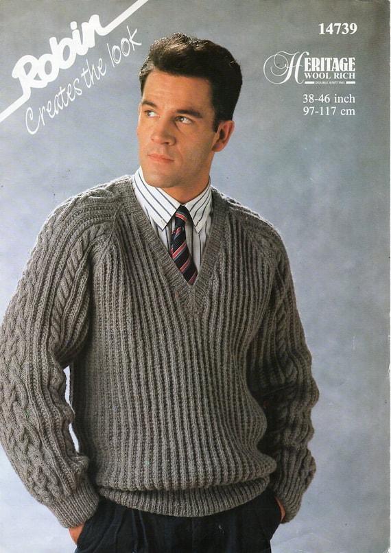 d2e6735579070 mens rib cable sweater knitting pattern pdf download DK mans
