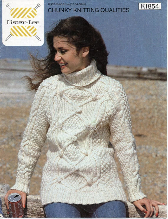 Womens Aran Sweater Knitting Pattern Pdf Chunky Ladies Polo Etsy