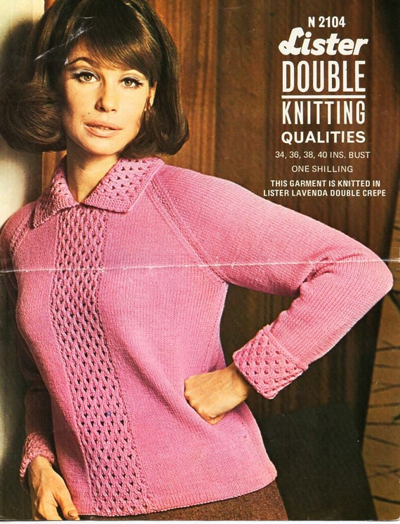 """Knitting Pattern For Ladies Fashionable Collared Jumper Sweater DK 32/""""-38/"""""""