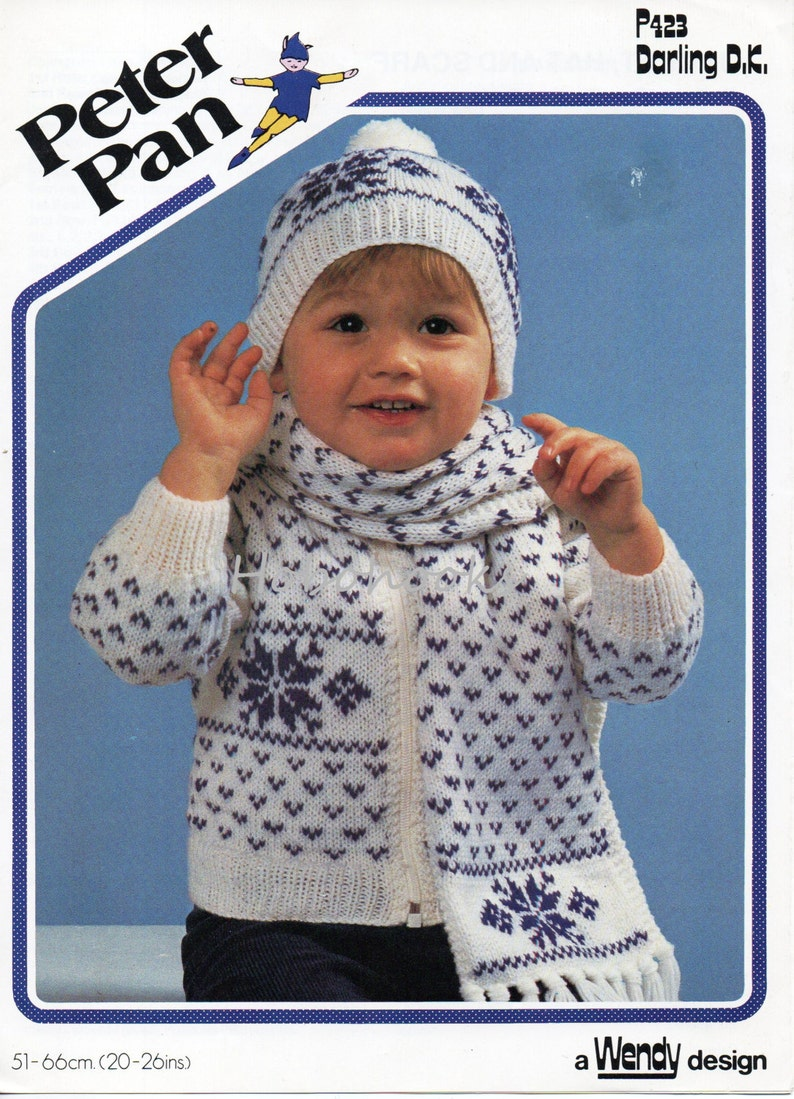 2e7a564a39b3 Vintage baby childrens fair isle cardigan knitting pattern pdf
