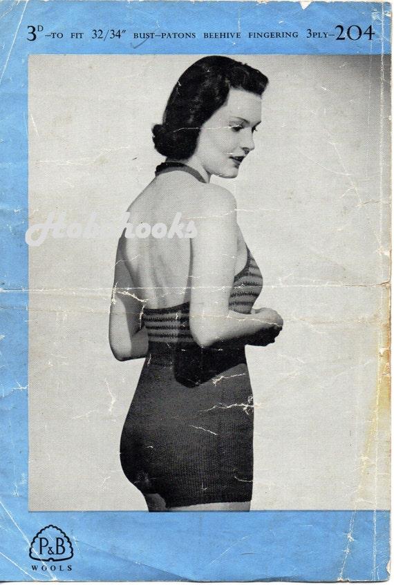 Womens Knitting Pattern 1940s Ladies Swimming Costume Bathing Suit