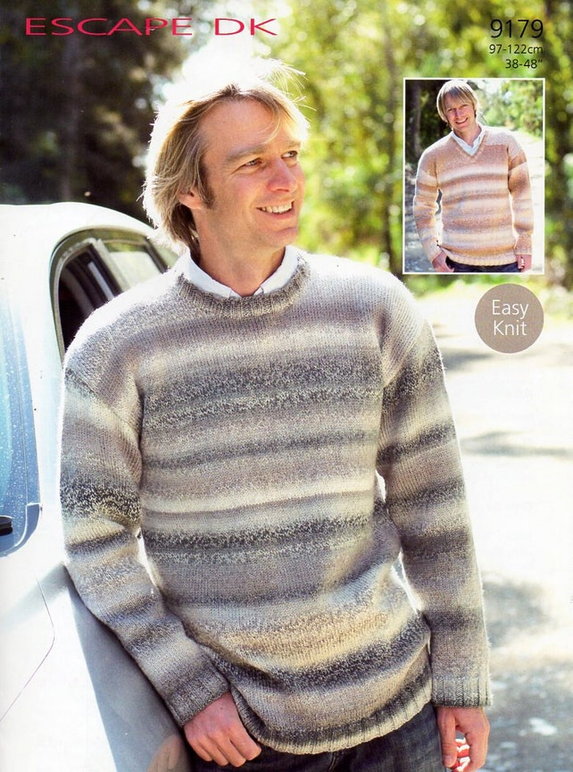 Mens Sweater Knitting Pattern Pdf Mens V Neck Or Round Neck Etsy
