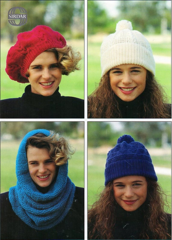 4f7f2002fc7 womens hat snood cap beret knitting pattern pdf download DK ladies hats DK  light worsted 8ply Instant download