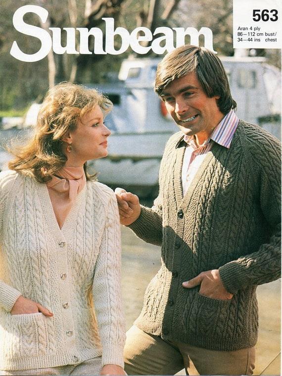 """4ply  Knitting Pattern Cardigan Jumper Men Ladies Size 34//44/"""""""