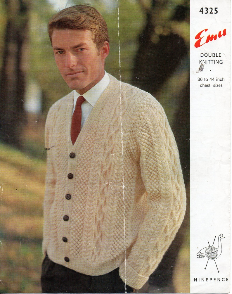 e8523526c6575 Vintage Mens Aran Cardigan knitting Pattern PDF Mens Aran Jacket V neck  cable cardigan 36-44 inch DK Light Worsted 8 Ply instant Download