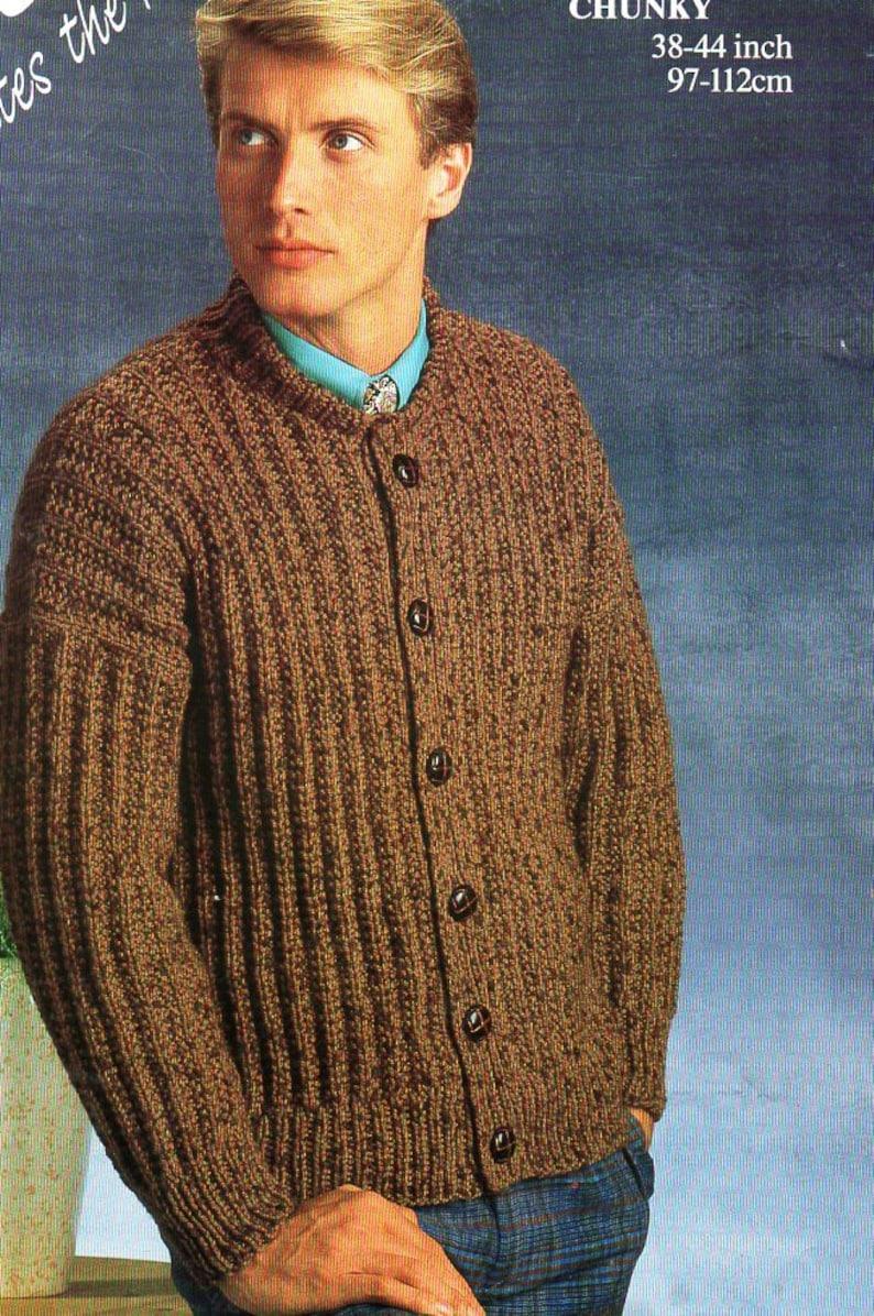 545a86154 Mens rib cardigan knitting pattern pdf mens chunky ribbed