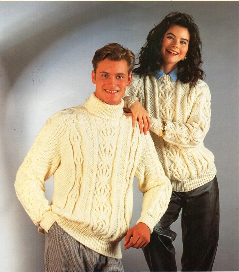 2f61753ec3ba8f Womens mens aran sweater knitting pattern pdf ladies cable
