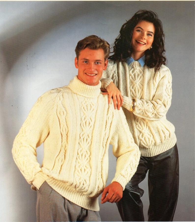 495ff13e09d5 Womens mens aran sweater knitting pattern pdf ladies cable