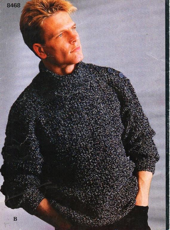 5a9667cab9682 mens knitting pattern PDF mens ribbed sweaters mens rib jumper