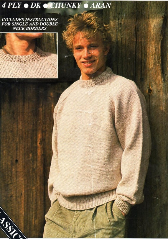 Mens Classic Round Neck Sweater Knitting Pattern Pdf 4ply Dk Etsy
