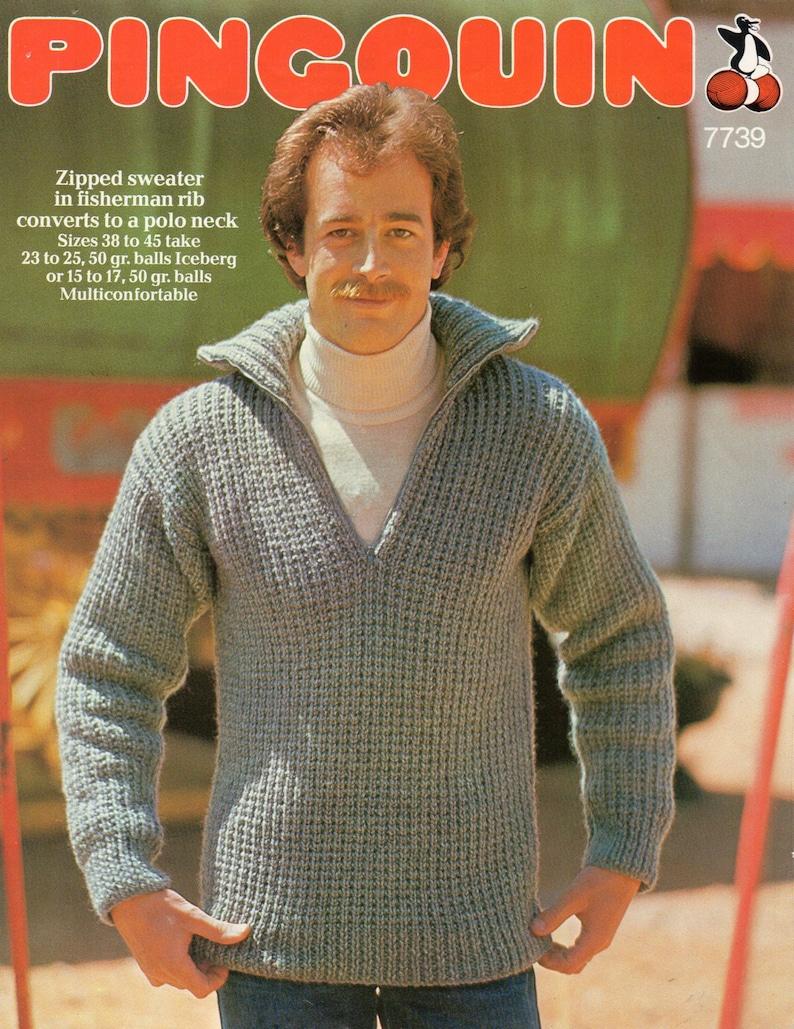 00e4688b9 Vintage mens zip neck sweater knitting pattern pdf mens rib