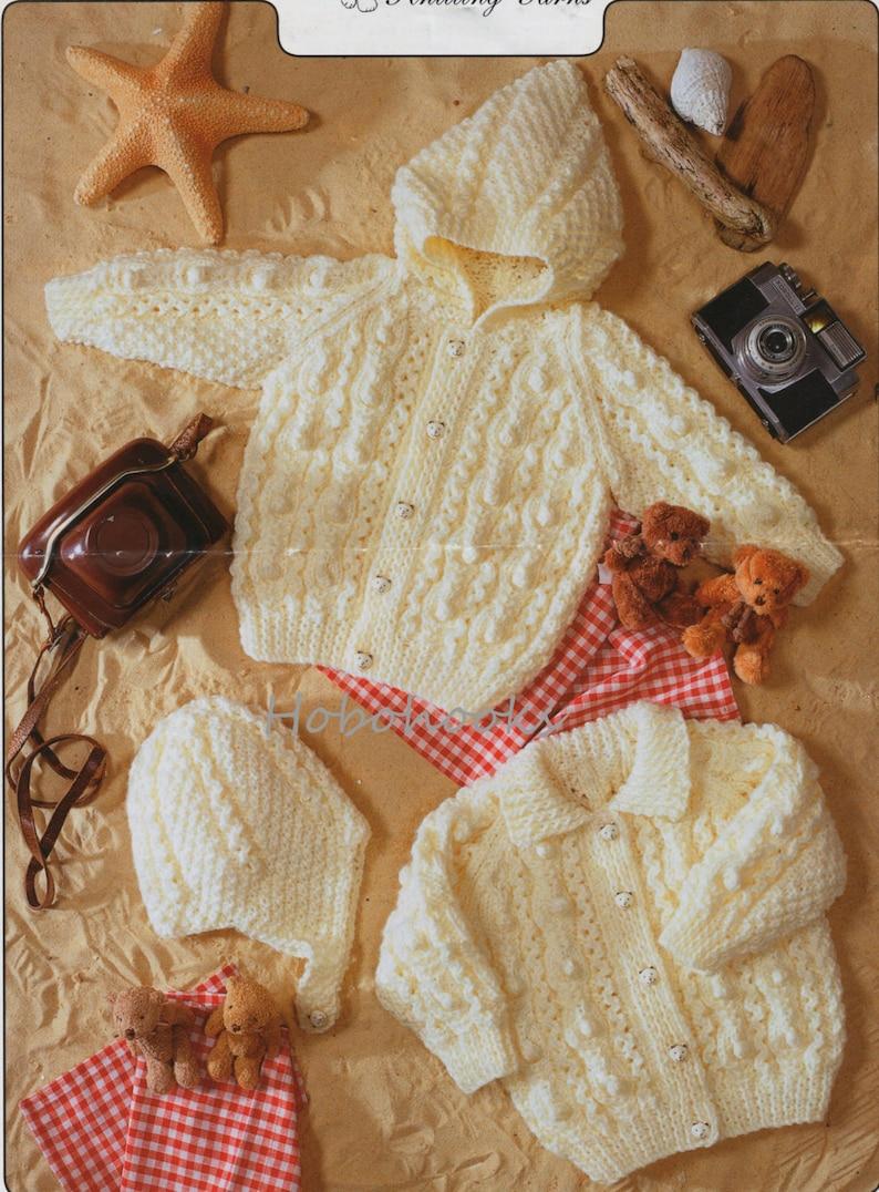 e203dd4b0 Baby Knitting Pattern Baby Aran Cardigans Hood Hat Childs Aran