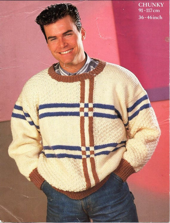 d7ef0ee667606 mens chunky sweater knitting pattern pdf mes round neck jumper