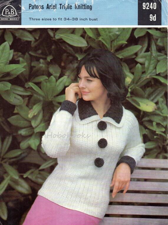 0a942c2bd4ca02 Vintage womens sweater knitting pattern PDF chunky ladies