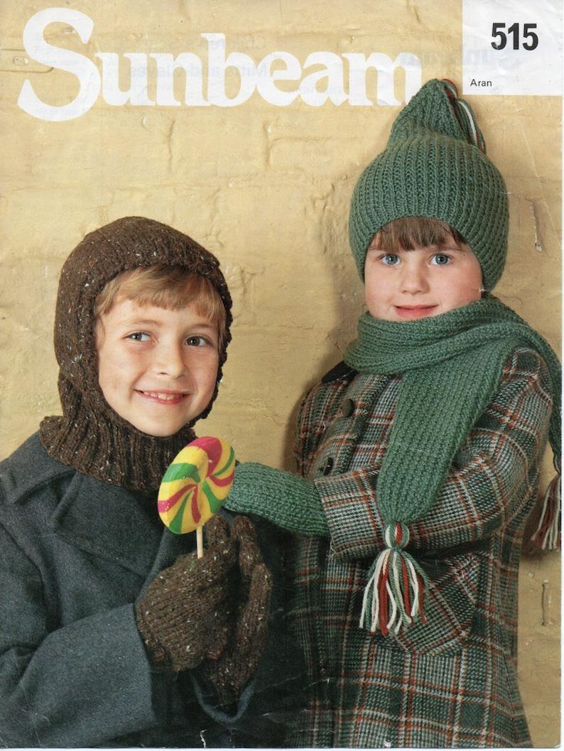 Childrens Hat Balaclava Scarf Gloves Mitts Knitting Pattern Etsy