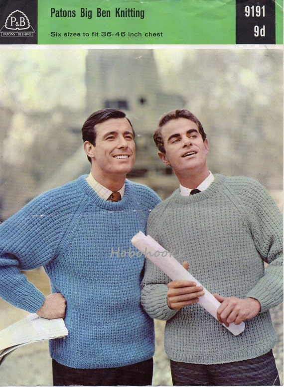 mens chunky ribbed sweater knitting pattern vintage 1960s