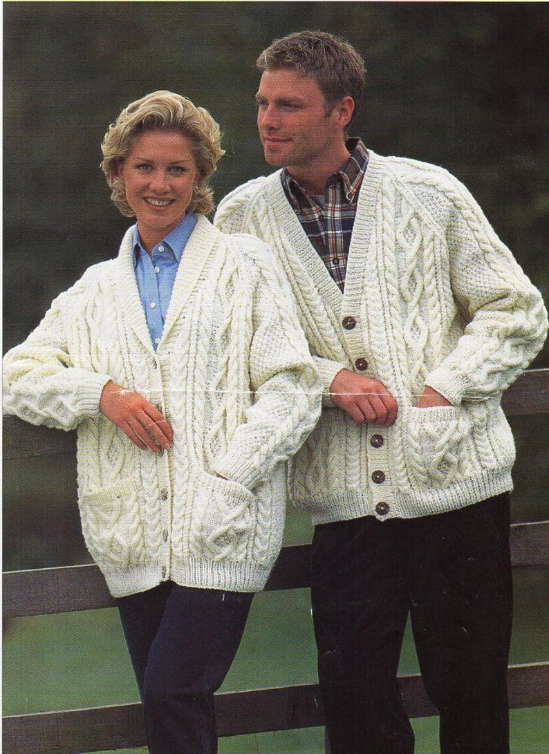 499b828bb Womens mens aran cardigan knitting pattern pdf ladies cable