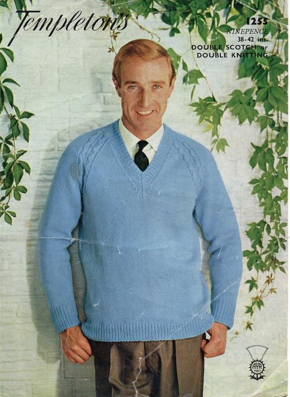 Mens Sweater Knitting Pattern Pdf Download Mens V Neck Jumper Etsy