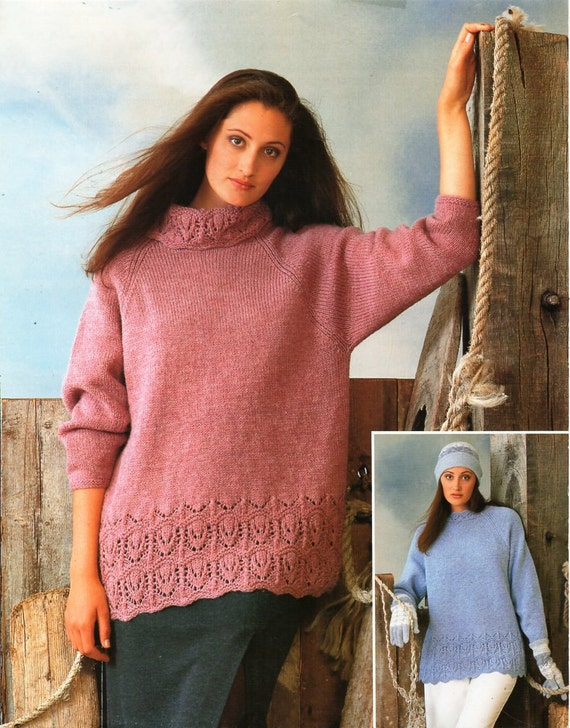 Womens Long Lace Border Sweater Knitting Pattern Pdf Ladies Etsy