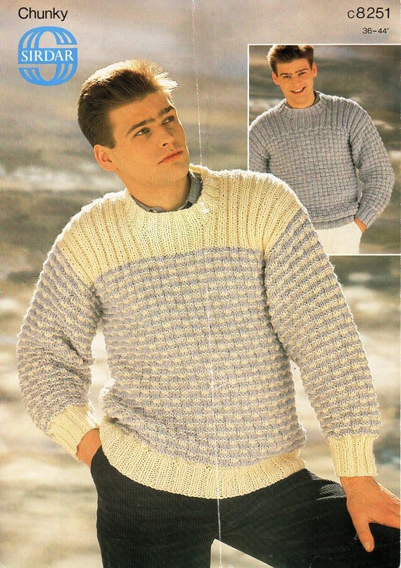 Mens Sweater Knitting Pattern Pdf Mens Chunky Sweater Crew Etsy