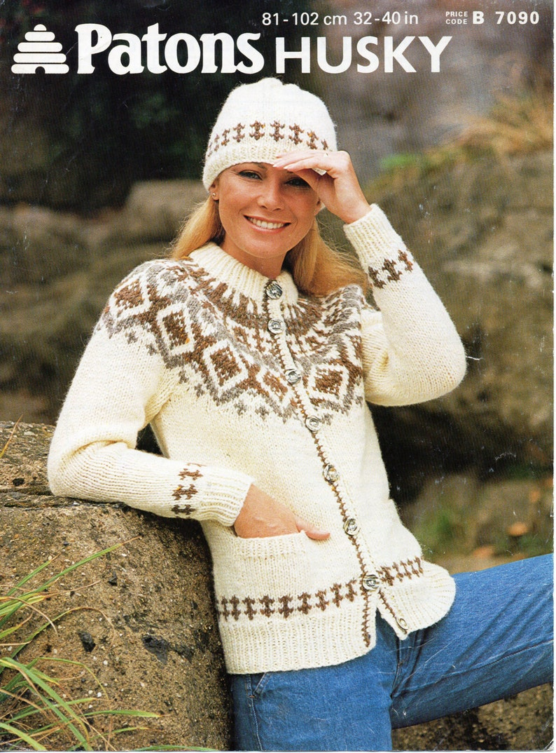 7e1579c5e6094 Womens chunky icelandic fair isle jacket   hat fair isle yoke