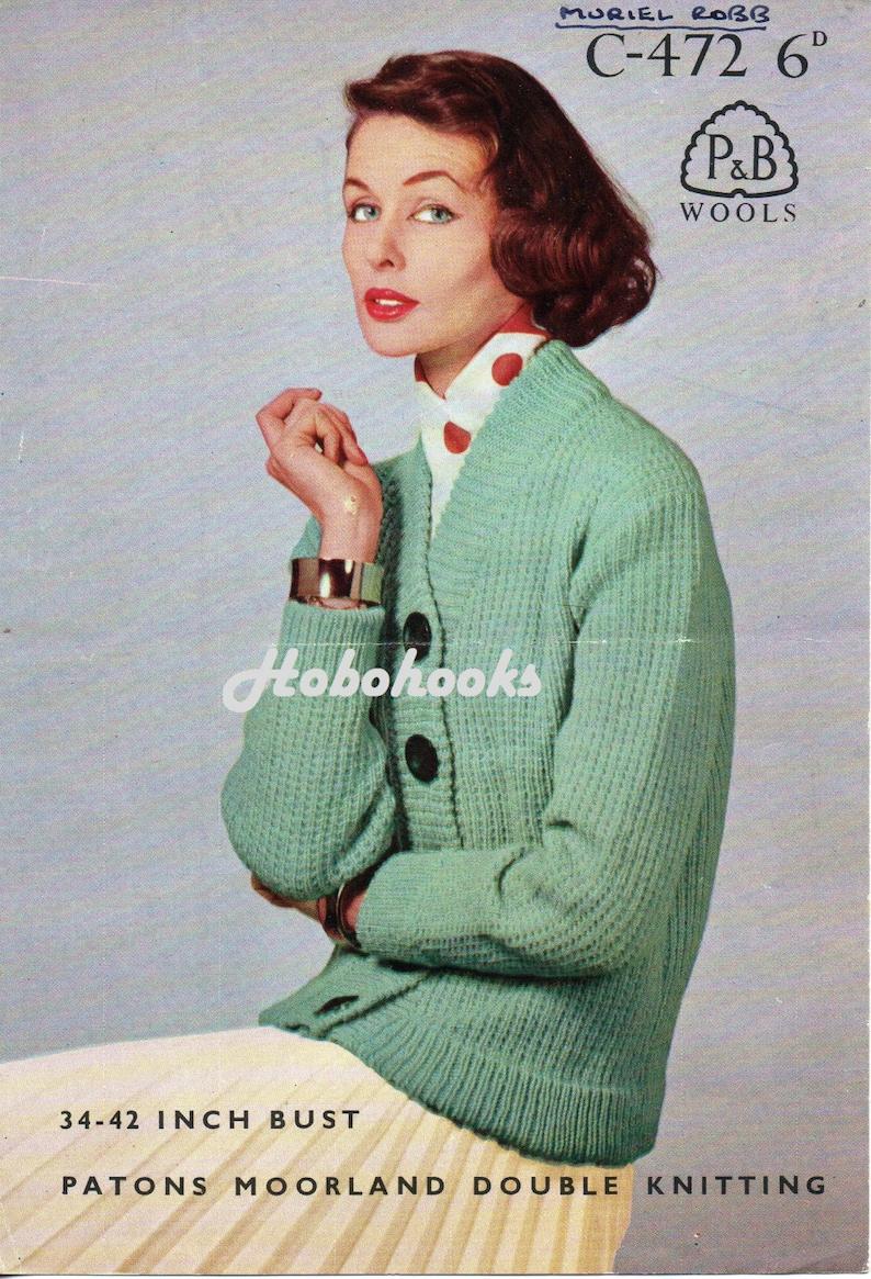ad2eb5260fad Vintage womens cardigan knitting pattern pdf ladies ribbed