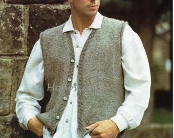 Mens Knitting Pattern mens waistcoat mens sleeveless cardigan 36-46 inches DK Mens Knitting Patterns - PDF instant download