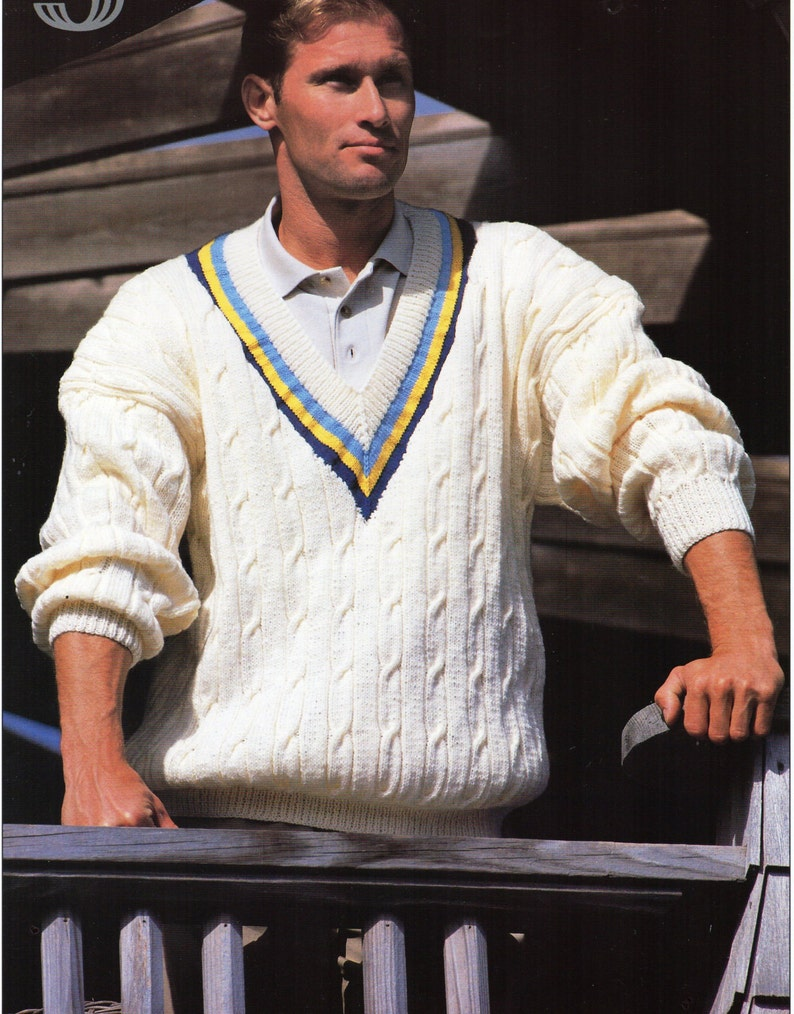 5a9ca51bbd11 Mens cricket sweater knitting pattern pdf mens cable v neck