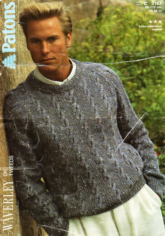 mens sweater knitting pattern PDF mens cable sweater crew neck | Etsy