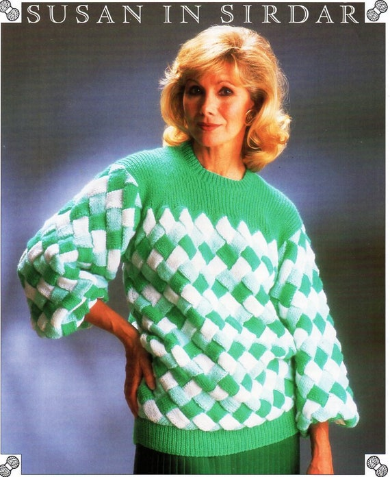 Entrelac Sweater Pattern Entrelac Knitting Oversize Sweater Pattern Women Sweater Pattern How to knit Unique pattern