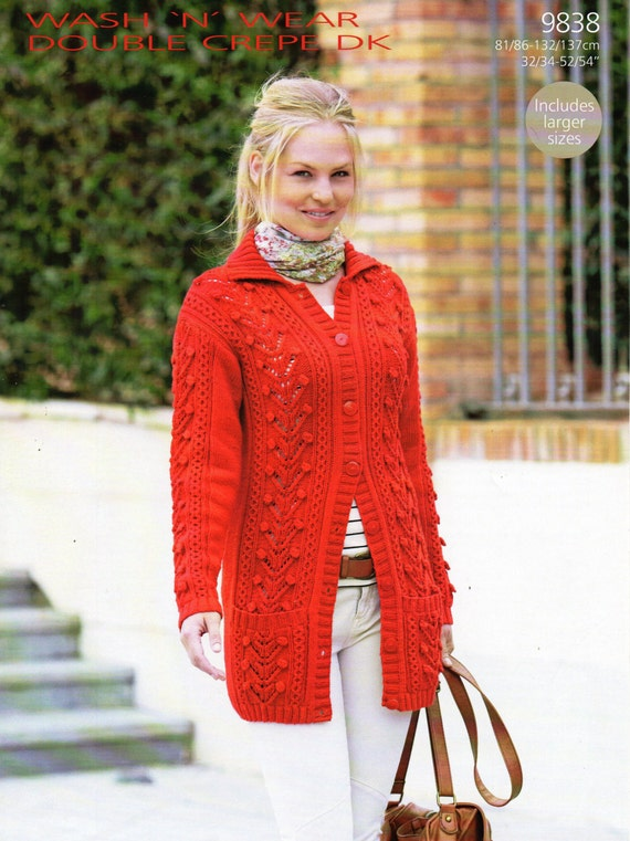 Womens Aran Jacket Knitting Pattern Pdf Long Line Ladies Cable
