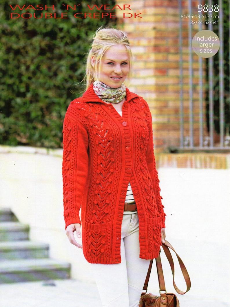 4683cfa0c964 Womens aran jacket knitting pattern PDF long line ladies cable
