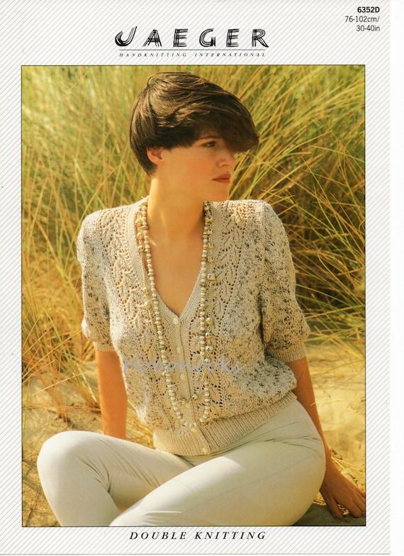 Womens Lace Panel Cardigan Knitting Pattern V Neck Short