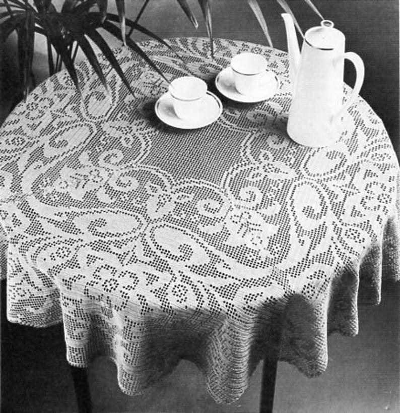 crochet tablecloth crochet pattern pdf filet crochet circular round table  cover thread crochet cotton 112 5cm diameter pdf instant download