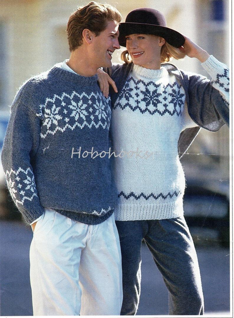DK Yarn, Knitting Pattern Vintage Ladies Fair Isle//Snowflake Design Jumper