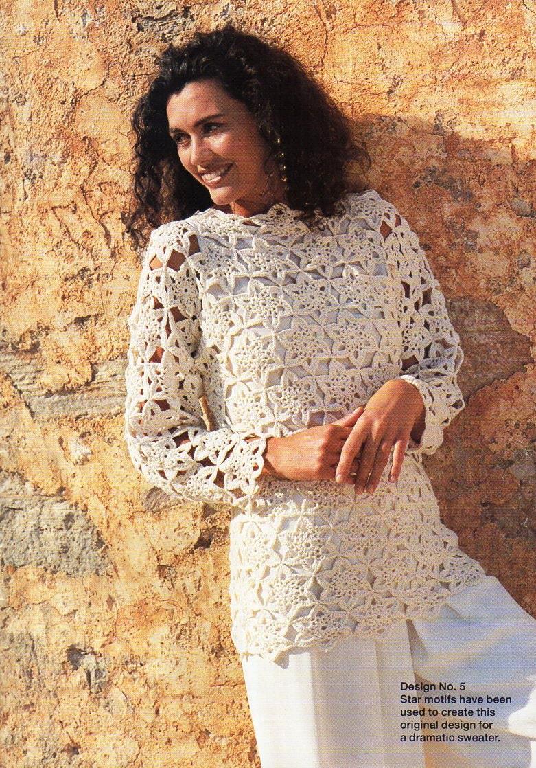 Lacy Crochet Motifs Funkycrochet New Crush Rustic Lace Square Motif Womens Sweater Pattern Etsy 781x1118