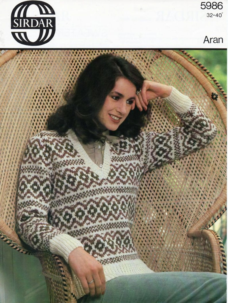 9430ad840a6 Vintage womens fair isle sweater knitting pattern pdf ladies