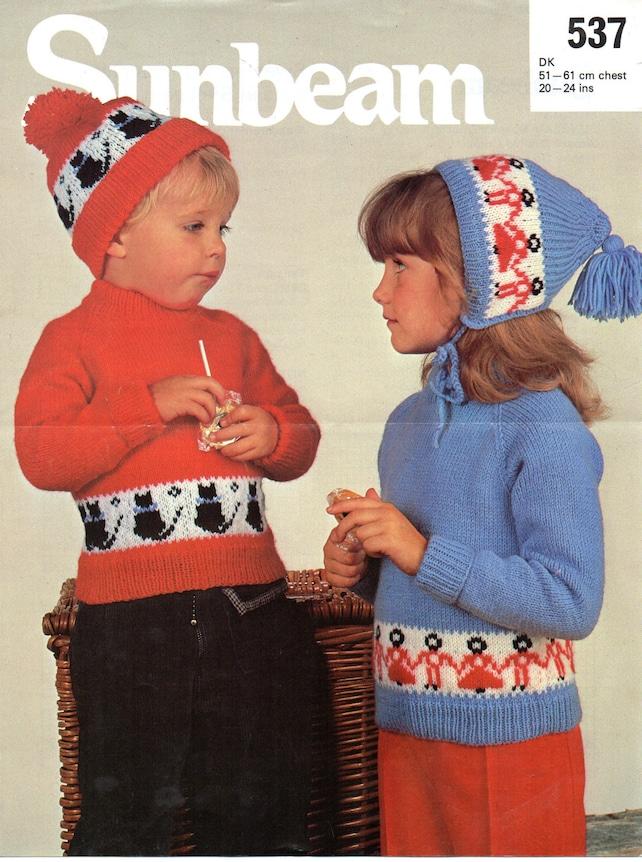 baby childs sweaters hats set knitting pattern pdf cat sweater | Etsy
