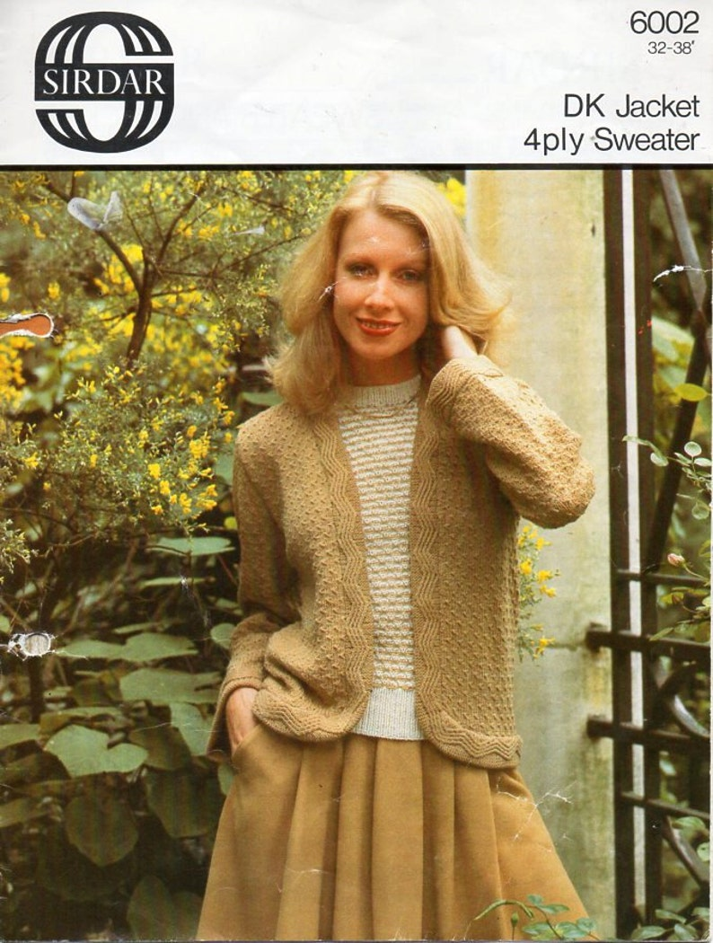 d96f3ca3d666f Womens DK jacket 4ply sweater Knitting Pattern PDF ladies
