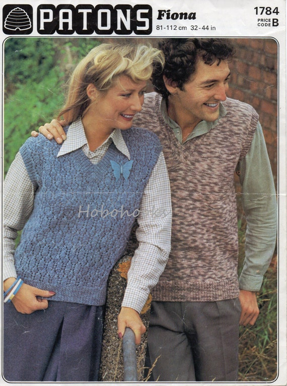 Vintage womens / mens slipover knitting pattern PDF ladies | Etsy