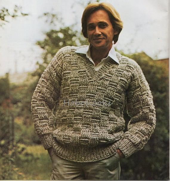 Crochet Pattern Mens Chunky Sweater Mens Jumper V Neck Etsy