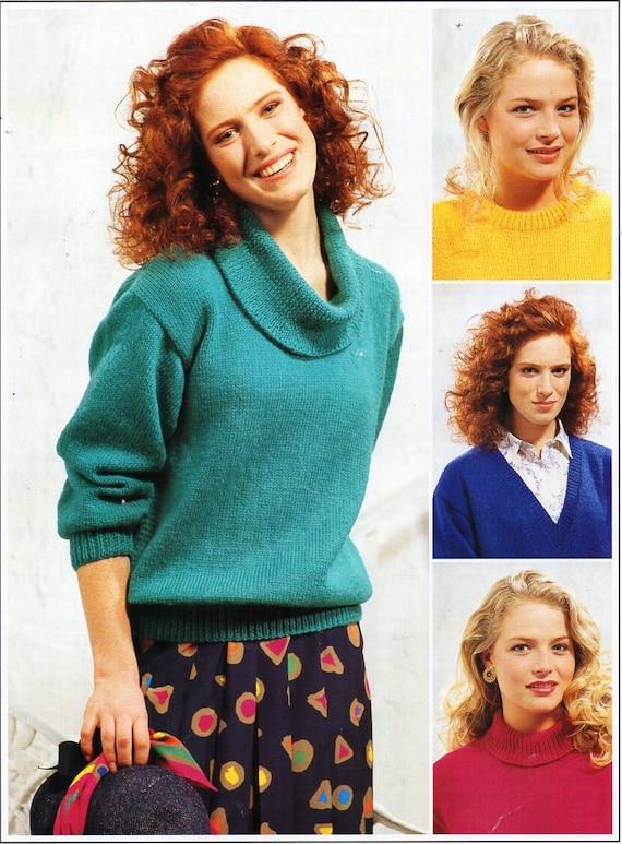 Ladies Classic Sweaters Knitting Pattern Pdf Dk Womens Cowl Etsy