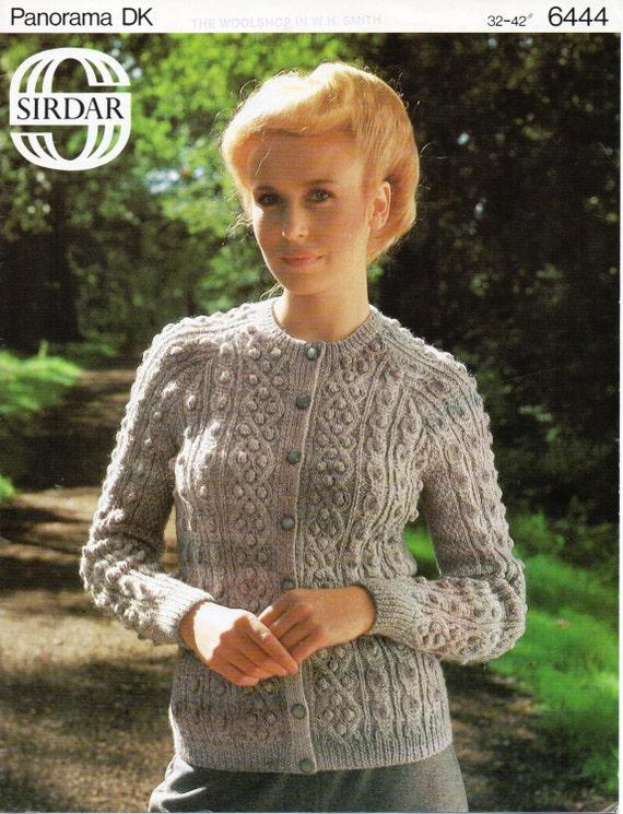 Womens Bobble Stitch Cable Cardigan Knitting Pattern Aran Etsy