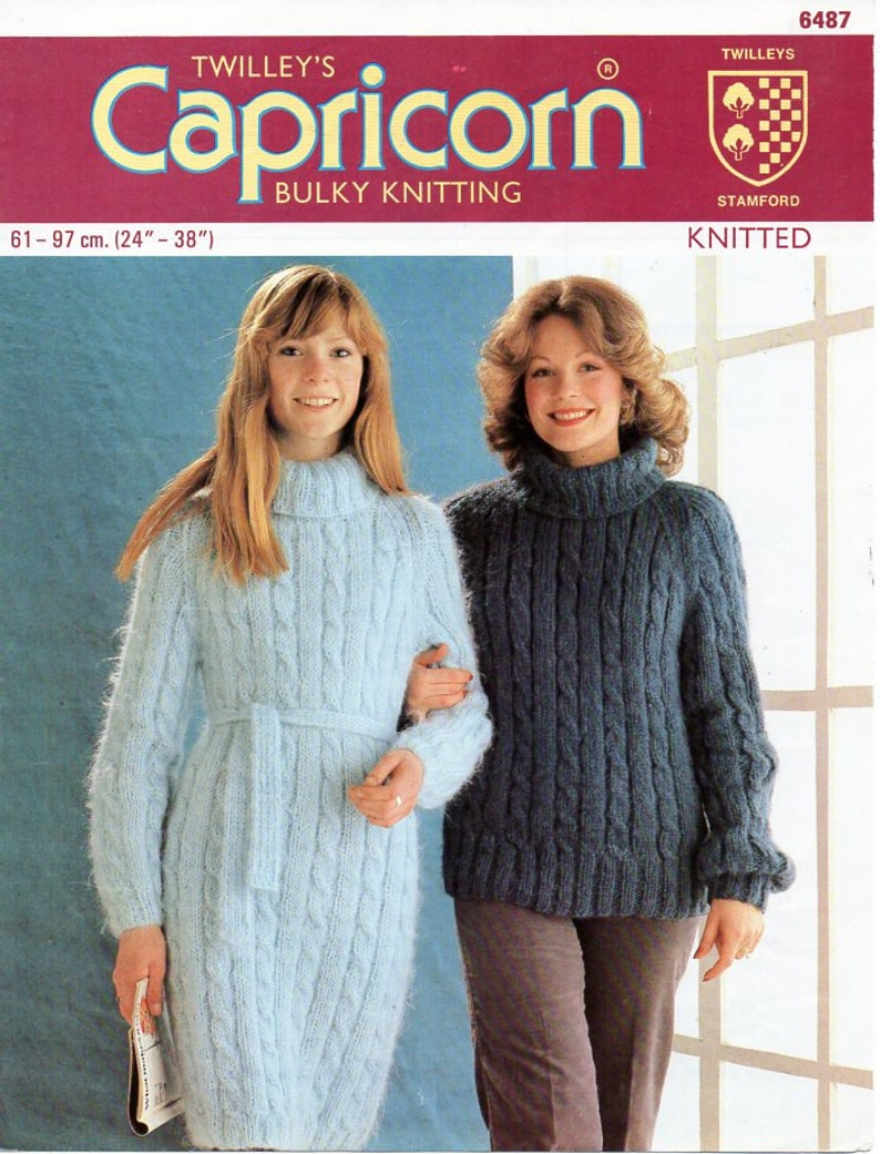 5777cb547858e Vintage womens cable dress and sweater knitting pattern pdf
