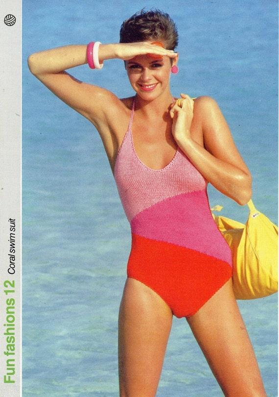 Womens Swimming Costume Knitting Pattern Pdf Ladies Swimsuit Etsy