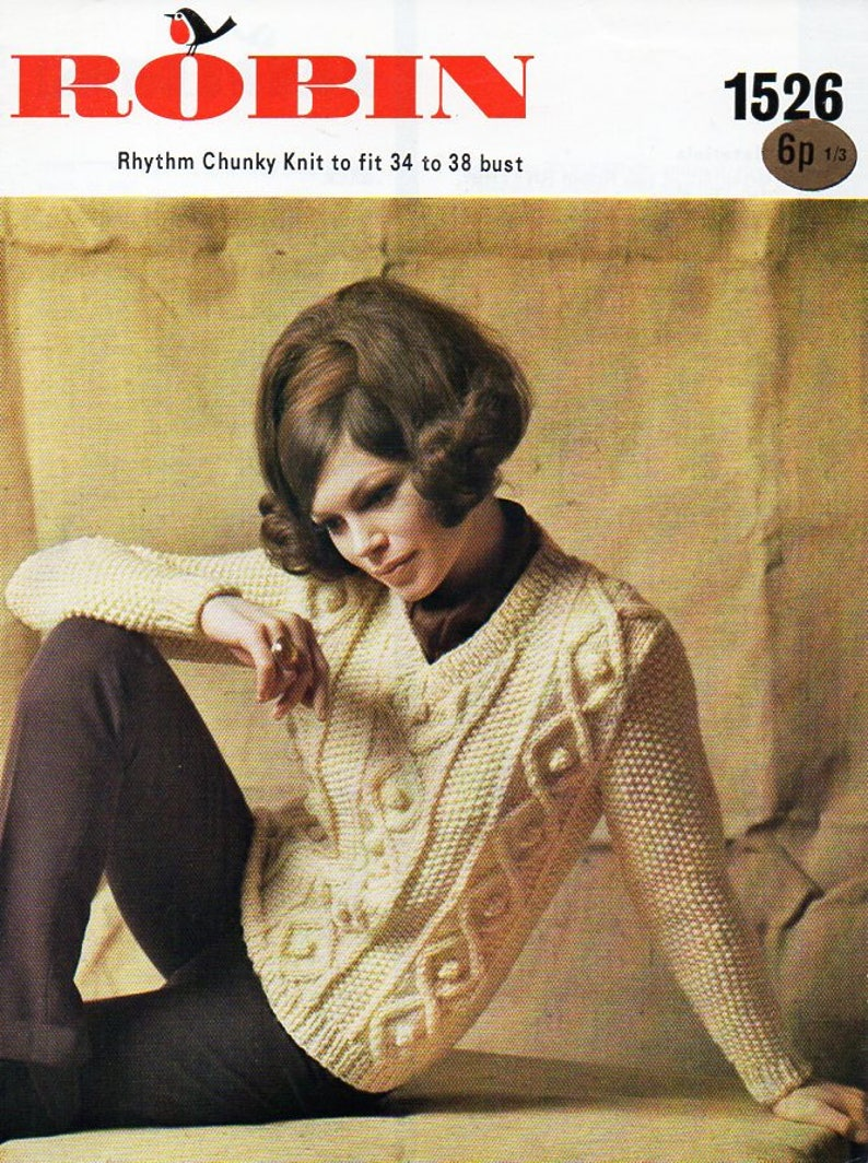 7a6534624f7dc Vintage womens cable sweater knitting pattern PDF chunky