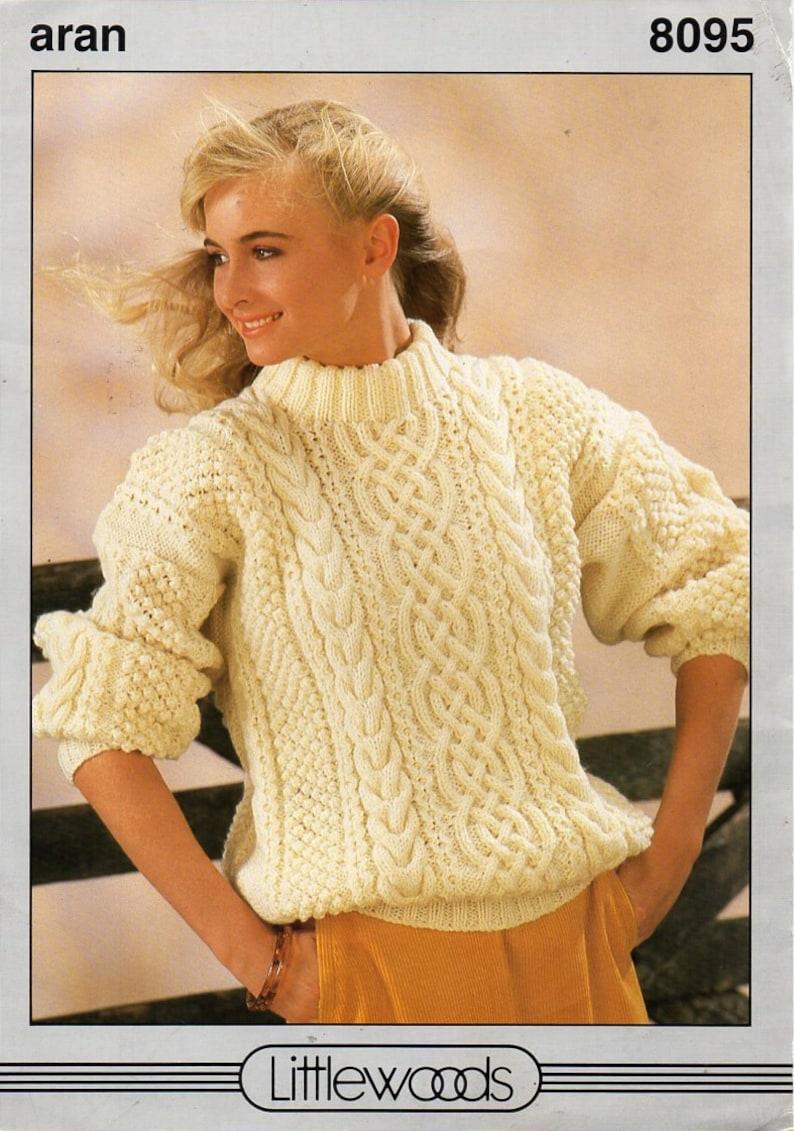 a41a494fa0518 Ladies aran sweater knitting pattern pdf womens cable crew