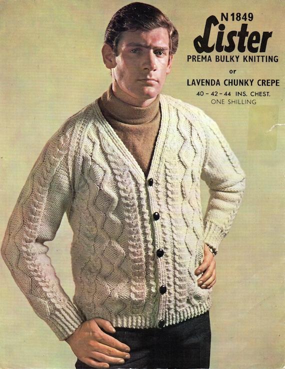 "Vintage Homme /& Femme Pull à grosses knitknitting Motif copie Taille 44/"" 32/"""