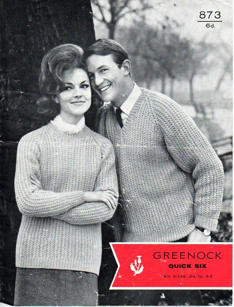 13082528abf4 Vintage womens mens rib sweater knitting pattern pdf ladies