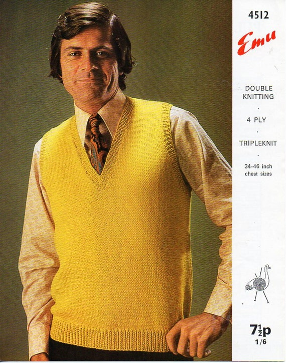 Double knitting pattern for Guernsey style sweaters 30-44 inches